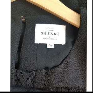 Sezane crepe blouse with crocheted lace